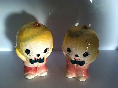 Vintage Rare Japan Anthropomorphic Cabbage Salt And Pepper Shakers