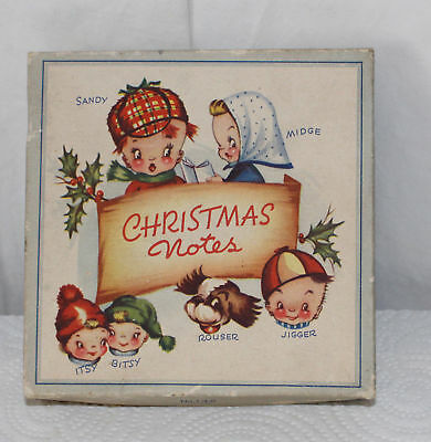Vintage Itsy Bitsy Christmas Cards Notes Children All Different - 4 Unused Box