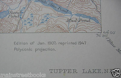 TUPPER LAKE NY Adirondack Park TOPOGRAPHICAL MAP 1947 Long Lake NY Piercefield