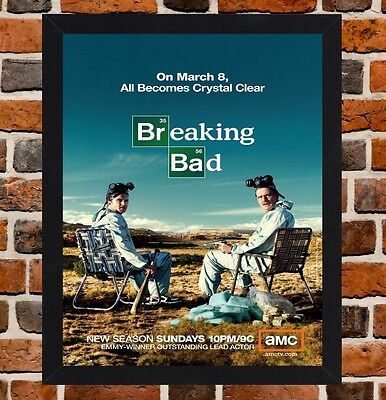 FRAMED BREAKING BAD TV Show Poster A4 / A3 Size In Black / White ...