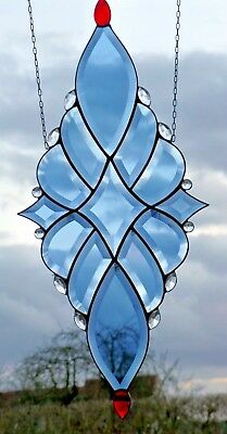 Stained Glass Leaded blue Faceted Window image with jewels in Tiffany
