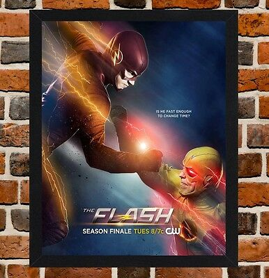 Framed The Flash TV Show Poster A4 / A3 Size In Black / White Frame -
