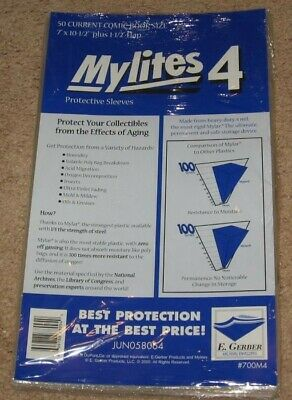 100 E Gerber Mylites 4 Current Comic Book Mylar Bags + Half Back backer boards