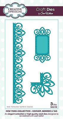 CREATIVE EXPRESSIONS Dies Sue Wilson New York CORNER BORDER TAG CED4102 IN STOCK