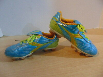 Soccer Shoes Cleats Childrens Size 12 Diadora Green Blue Orange
