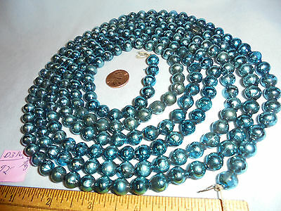 "Christmas Garland Mercury Glass Blue 92"" Long 3/8"" Beads #D316 Vintage"