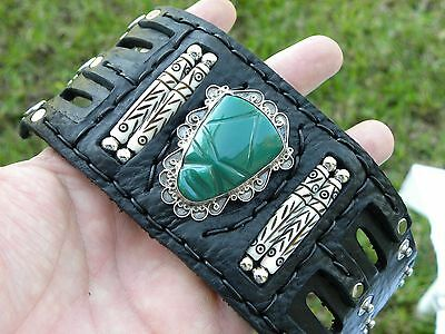 1940 s Maya Aztec Mexican Mask Onyx Sterling silver NS leather cuff bracelet