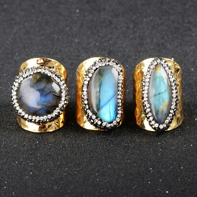 1Pcs Natural Labradorite Cuff Band Ring Gold Plated With CZ Pave Edge HOT HJA129