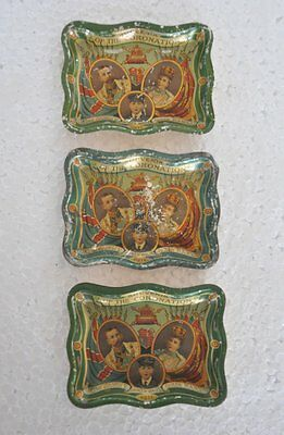 3 Pc Vintage Coronation Of King George V & Queen Marry 1911 Litho Tin Plates