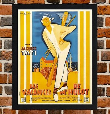 Framed Mr. Hulot's Holiday Movie Poster A4 / A3 Size In Black / White Frame.