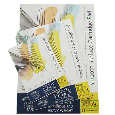 Winsor & Newton Smooth Surface Cartridge Pads 220gsm A3. Artists Gummed Paper.