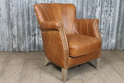 Tan Leather Armchair With Aged Brass Studwork Art Deco Inspired Armchair