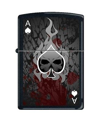 Zippo 0649, Ace of Spades-Death, Black Matte Lighter, Full Size
