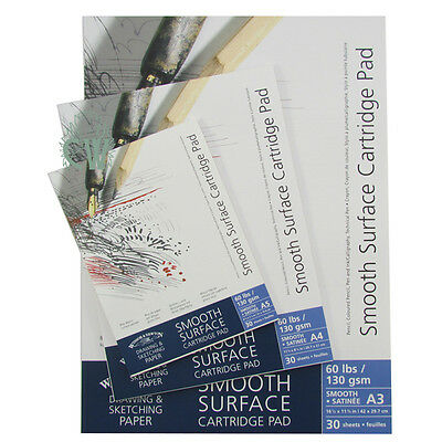 Winsor & Newton Smooth Surface Cartridge Pads 130gsm A3. Artists Gummed Paper.