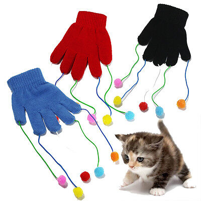 Cat Teaser Glove Kitten Play Pet Trick Playing Fun Toy Scratch Activity Mitt