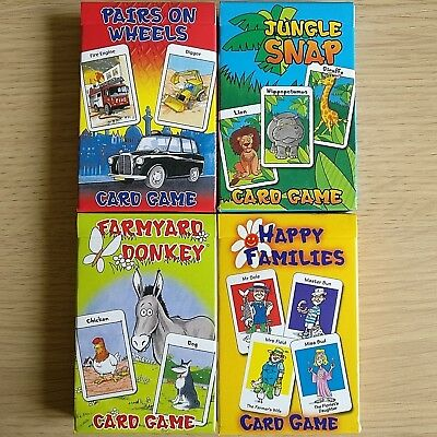 NEW - CARD GAME PACKS - Donkey Happy Families Snap Pairs  Childrens Cards Games