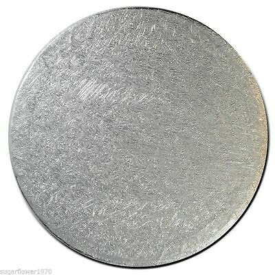 """12"""" inch round cake Card board 3mm thick Pack of 5 Silver  NEXT DAY DESPATCH"""
