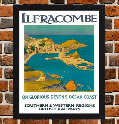 Framed Ilfracombe North Devon Travel Poster A4 / A3 Size In Black / White Frame