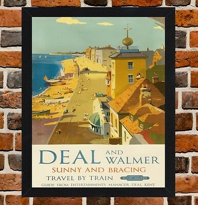 Framed Deal Kent Railway Travel Poster A4/A3 Size In Black/White Frame
