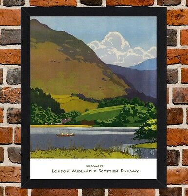 Framed Grasmere Lake District Travel Poster A4 / A3 Size In Black / White Frame