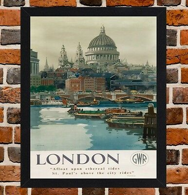 Framed London St Pauls Railway Travel Poster A4 / A3 Size In Black / White Frame