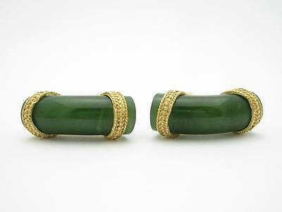 14k Yellow Gold & Green Onyx Vintage Estate Men's Cuff Links Bridal Gift