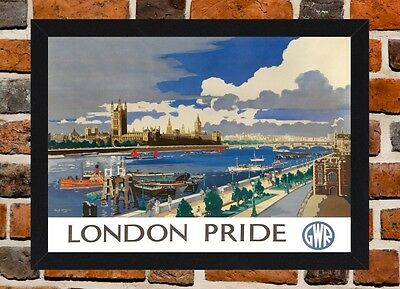 Framed London Pride Railway Travel Poster A4 / A3 Size In Black / White Frame