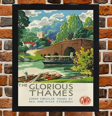Framed Glorious Thames Railway Travel Poster A4 / A3 Size In Black / White Frame