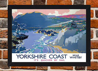 Framed Yorkshire Coast Railway Travel Poster A4 / A3 Size In Black / White Frame