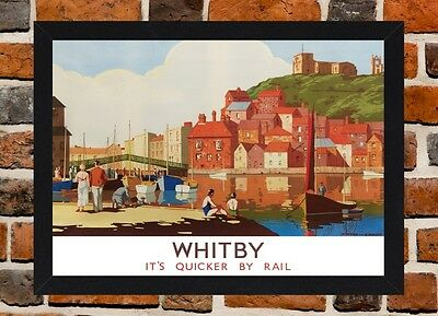 Framed Whitby Railway Travel Poster A4 / A3 Size In Black / White Frame