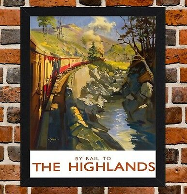 Framed The Highlands Railway Travel Poster A4 / A3 Size In Black / White Frame