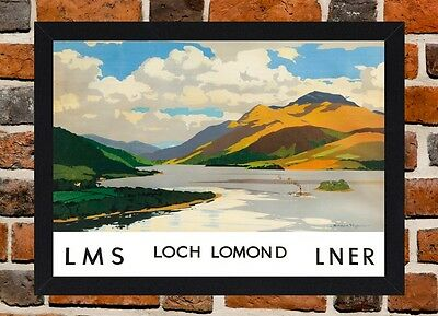 Framed loch Lomond Railway Travel Poster A4 / A3 Size In Black / White Frame
