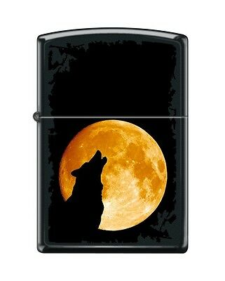 Zippo 6026, Wolf Howling at Moon, Black Matte Finish Lighter, Full Size