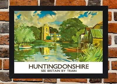Framed Huntingdonshire Railway Travel Poster A4 / A3 Size In Black / White Frame