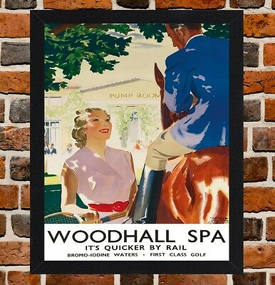 Framed Woodhall Spa Railway Travel Poster A4 / A3 Size In Black / White Frame