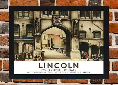 Framed Lincoln Railway Travel Poster A4 / A3 Size In Black / White Frame.