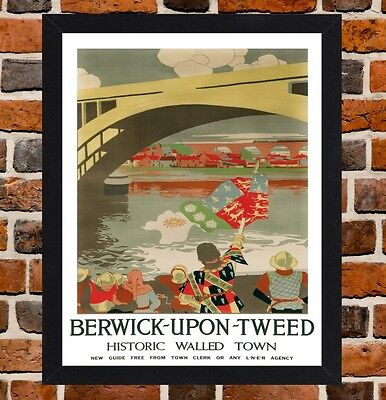 Framed Berwick Upon Tweed Travel Poster A4 / A3 Size In Black / White Frame