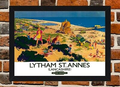 Framed Lytham St Annes Railway Travel Poster A4/A3 Size In Black/White Frame