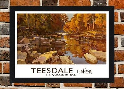 Framed Teesdale Railway Travel Poster A4 / A3 Size In Black / White Frame