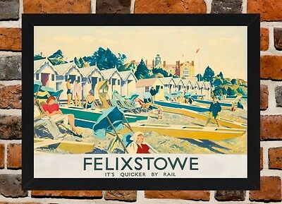 Framed Felixstowe Suffolk Travel Poster A4 / A3 Size In Black / White Frame