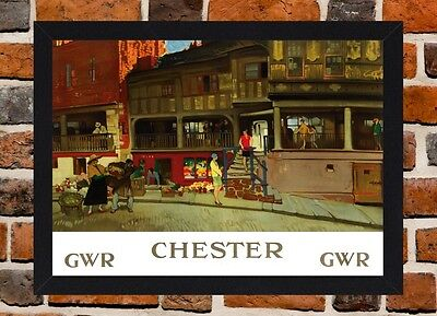 Framed Chester Railway Travel Poster A4 / A3 Size In Black / White Frame