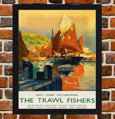Framed The Trawl Fishers Railway Travel Poster A4/A3 Size In Black/White Frame