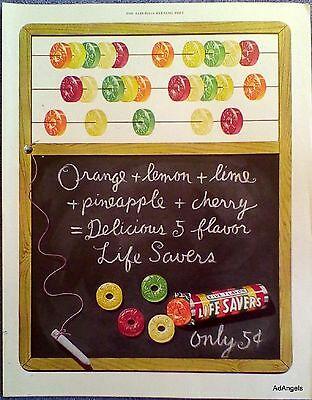 1950 Life Savers Hard Candy Abacus Blackboard Chalk Writing Delicious ad