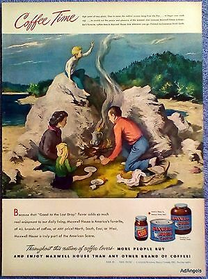 1948 Maxwell House Coffee Family Picnic Water Fire Boy Playing In Smoke Smith ad