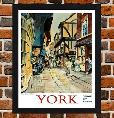 Framed York Railway Travel Poster A4 / A3 Size In Black / White Frame
