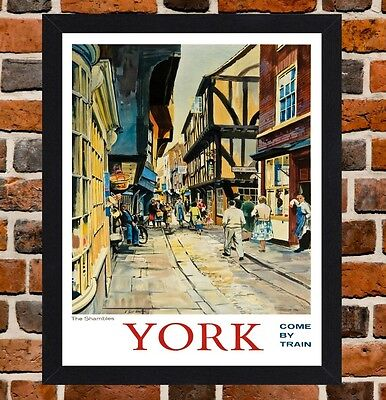 Framed York Yorkshire Railway Travel Poster A4 / A3 Size In Black / White Frame