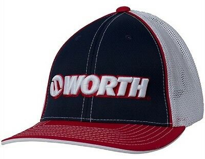 Worth Trucker Hat Red / White / Blue  Large / X-Large Fits 7 3/8 - 8 New!