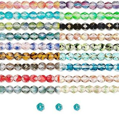 Lot of 30 Two Color Tone Czech Glass Round Fire Polish Faceted Beads Small - Big