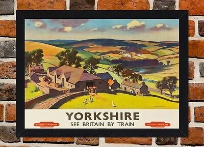 Framed Yorkshire Railway Travel Poster A4 / A3 Size In Black / White Frame.