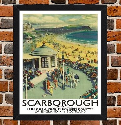 Framed Scarborough Railway Travel Poster A4 / A3 Size In Black / White Frame